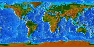 Topographic map of the ocean floors and world, click to see larger image.
